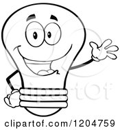 Cartoon Of A Happy Black And White Light Bulb Mascot Waving Royalty Free Vector Clipart
