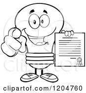 Cartoon Of A Happy Black And White Light Bulb Mascot Pointing And Holding A Contract Royalty Free Vector Clipart