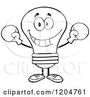 Cartoon Of A Black And White Light Bulb Mascot Wearing Boxing Gloves Royalty Free Vector Clipart