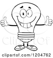 Cartoon Of A Happy Black And White Light Bulb Mascot Holding Two Thumbs Up Royalty Free Vector Clipart