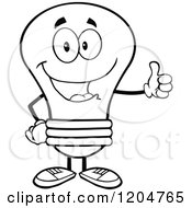Cartoon Of A Happy Black And White Light Bulb Mascot Holding A Thumb Up Royalty Free Vector Clipart