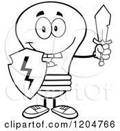 Cartoon Of A Happy Black And White Light Bulb Mascot With A Sword And Shield Royalty Free Vector Clipart