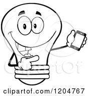 Cartoon Of A Happy Black And White Light Bulb Mascot Pointing To A Tablet Computer 2 Royalty Free Vector Clipart