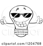 Cartoon Of A Happy Black And White Light Bulb Mascot Holding Two Thumbs Up And Wearing Shades Royalty Free Vector Clipart