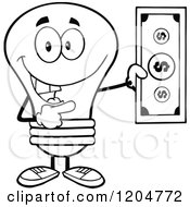 Cartoon Of A Happy Black And White Light Bulb Mascot Holding A Dollar Bill Royalty Free Vector Clipart