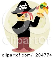 Cartoon Of A Happy Pirate Holding A Parrot Royalty Free Vector Clipart by bpearth