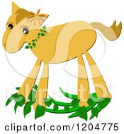 Cartoon Of A Cute Yellow Pony On Leaves Royalty Free Vector Clipart by bpearth