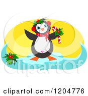 Cute Festive Christmas Penguin Holding A Candy Cane