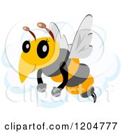 Cartoon Of A Cute Bee Flying Over A Cloud Royalty Free Vector Clipart