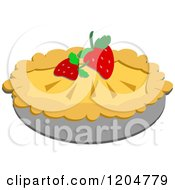 Cartoon Of A Pie Garnished With Strawberries Royalty Free Vector Clipart by bpearth