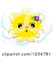Cartoon Of A Cute Summer Sun With A Flower And Cloud Royalty Free Vector Clipart by bpearth