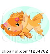 Cute Goldfish With Flowers Over An Oval
