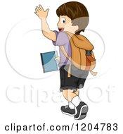 Cartoon Of A Waving Brunette White School Boy Walking Away Royalty Free Vector Clipart