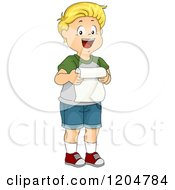 Cartoon Of A Happy Blond White Boy Giving A Speech Royalty Free Vector Clipart