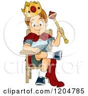Cartoon Of A Prince School Boy Sitting On A Desk Throne Royalty Free Vector Clipart
