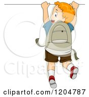Cartoon Of A Red Haired School Boy Hanging On A Sign Royalty Free Vector Clipart