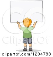 Cartoon Of A Rear View Of A Red Haired School Boy Holding Up A Sign Board Royalty Free Vector Clipart