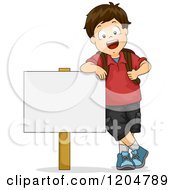 Cartoon Of A Happy Brunette School Boy Leaning On A Sign Board Royalty Free Vector Clipart