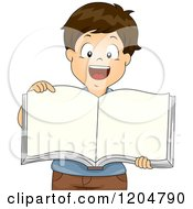 Cartoon Of A Happy Brunette School Boy Pointing To A Blank Book Royalty Free Vector Clipart