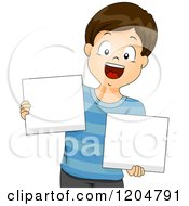 Cartoon Of A Happy Brunette School Boy Holding Blank Sign Boards Royalty Free Vector Clipart