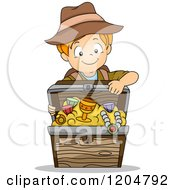 Cartoon Of A Red Haired White Explorer Boy With A Treasure Chest Royalty Free Vector Clipart by BNP Design Studio