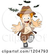 Cartoon Of A Red Haired White Explorer Boy Running From Bats Royalty Free Vector Clipart by BNP Design Studio