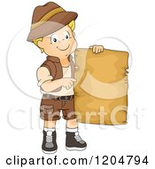 Cartoon Of A Happy Blond White Explorer Boy Holding A Blank Treasure Map Royalty Free Vector Clipart by BNP Design Studio