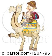 Cartoon Of A Happy Blond White Explorer Boy Riding A Camel Royalty Free Vector Clipart by BNP Design Studio
