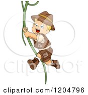 Cartoon Of A Happy Blond White Explorer Boy Swinging On A Jungle Vine Royalty Free Vector Clipart