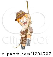 Happy Red Haired White Explorer Boy Swinging On A Rope