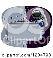 Cartoon Of An Astronaut Performing Maintenance On A Space Station Royalty Free Vector Clipart