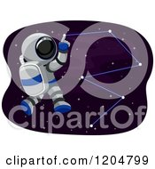 Cartoon Of An Astronaut Tracing Stars In The Sky Royalty Free Vector Clipart by BNP Design Studio