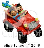 Clay Sculpture Clipart Teenagers Four Wheeling In A Jeep Royalty Free 3d Illustration by Amy Vangsgard