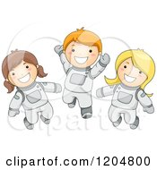 Cartoon Of Happy Astronaut Kids In Spacesuits Royalty Free Vector Clipart