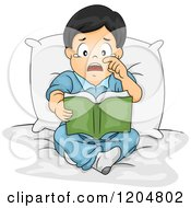 Cartoon Of An Emotional Asian Boy Crying And Reading A Book Royalty Free Vector Clipart