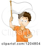 Cartoon Of A Defeated Brunette White Boy Holding A White Flag Royalty Free Vector Clipart by BNP Design Studio