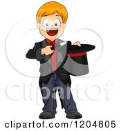 Cartoon Of A Happy Red Haired White Magician Boy Holding A Wand And Top Hat Royalty Free Vector Clipart