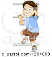 Cartoon Of A Happy Brunette White Boy Climbing Monkey Bars Royalty Free Vector Clipart