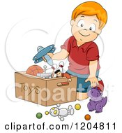 Cartoon Of A Happy Red Haired White Boy Putting Toys In A Box Royalty Free Vector Clipart by BNP Design Studio