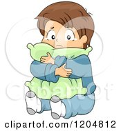 Cartoon Of A Sad Brunette White Boy Crying And Hugging A Pillow Royalty Free Vector Clipart