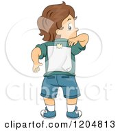 Cartoon Of A Rear View Of A Brunette White Boy Reaching For A Paper Taped On His Back Royalty Free Vector Clipart by BNP Design Studio