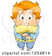 Cartoon Of A Scared Red Haired Boy Hugging His Pillow And Looking Up Royalty Free Vector Clipart
