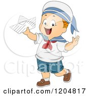 Cartoon Of A Happy White Toddler Sailer Boy Holding A Paper Boat Royalty Free Vector Clipart by BNP Design Studio