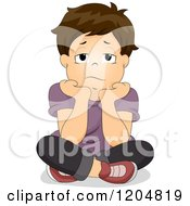Cartoon Of A Bored Brunette White Boy Resting His Chin In His Hands Royalty Free Vector Clipart