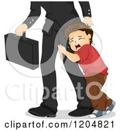 Cartoon Of A Sad White Boy Hugging His Fathers Leg As He Tries To Leave For Work Royalty Free Vector Clipart