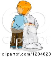 Cartoon Of A Rear View Of A Red Haired White Boy Standing By His Dog Royalty Free Vector Clipart