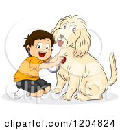 Cartoon Of A Happy Brunette White Boy Pretending To Be A Veterinarian To His Dog Royalty Free Vector Clipart