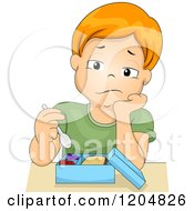 Cartoon Of A Bored Red Haired White Boy Eating His Lunch Royalty Free Vector Clipart