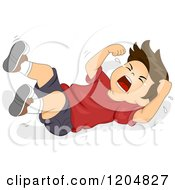 Cartoon Of A Brunette White Boy Throwing A Temper Tantrum On The Floor Royalty Free Vector Clipart