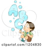 Cartoon Of An Amazed Brunette White Boy Making Letters With Bubbles Royalty Free Vector Clipart